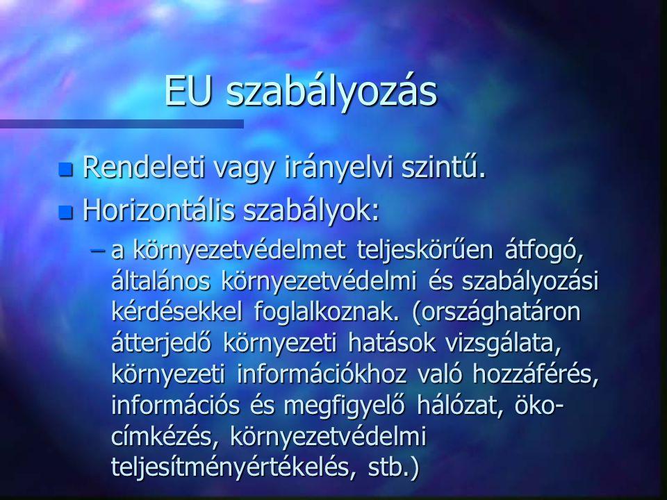 EU szabályozás n Rendeleti vagy irányelvi szintű. n Horizontális szabályok: –a környezetvédelmet teljeskörűen átfogó, általános környezetvédelmi és sz