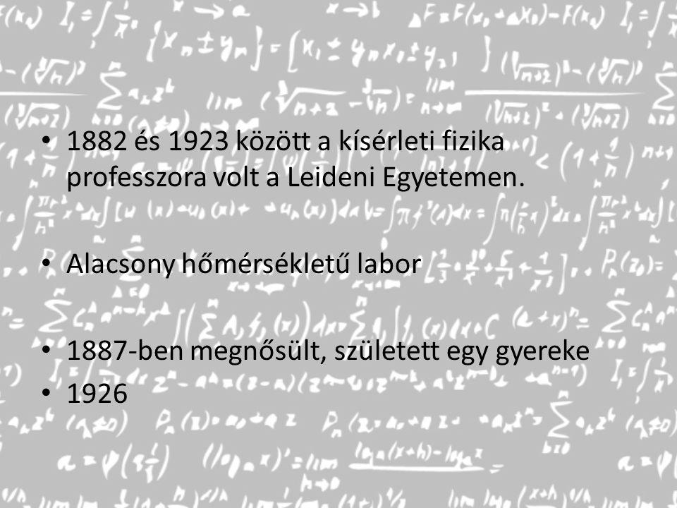 1882 és 1923 között a kísérleti fizika professzora volt a Leideni Egyetemen. Alacsony hőmérsékletű labor 1887-ben megnősült, született egy gyereke 192