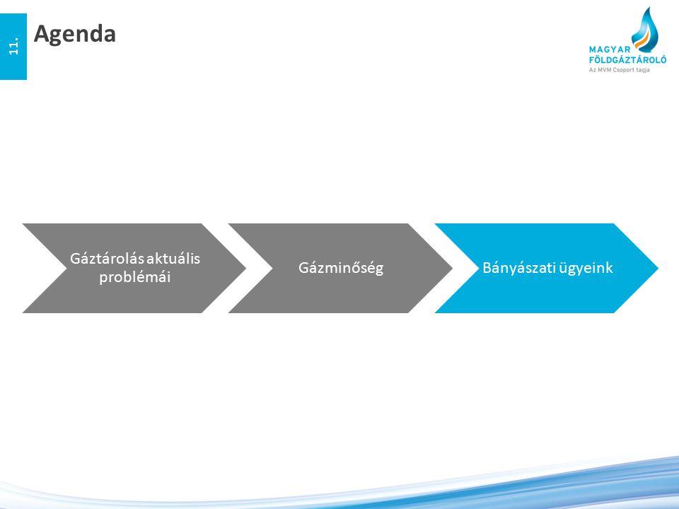 Agenda 11. Gáztárolás aktuális problémái GázminőségBányászati ügyeink