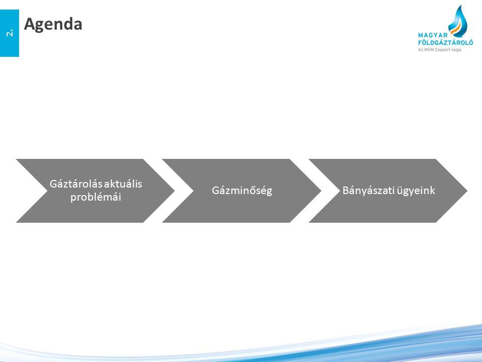 Agenda 2. Gáztárolás aktuális problémái GázminőségBányászati ügyeink