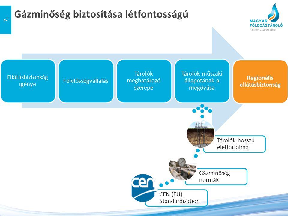 Jelenleg a tárolói technológiai rendszer az MSz-1648 szabvány gázminőségi elvárásainak tesz eleget Európai Uniós szintű szabványegységesítési törekvés a gázminőségi paraméterek egységesítésére (prEN 16726 szabvány) 2015-ben várhatón bevezetésre kerül Előzetes tárgyalások alapján 3 éves derogációs időszak várható MSZ 1648:2000 vs.
