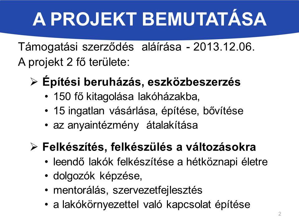 A PROJEKT BEMUTATÁSA Támogatási szerződés aláírása - 2013.12.06. A projekt 2 fő területe:  Építési beruházás, eszközbeszerzés 150 fő kitagolása lakóh