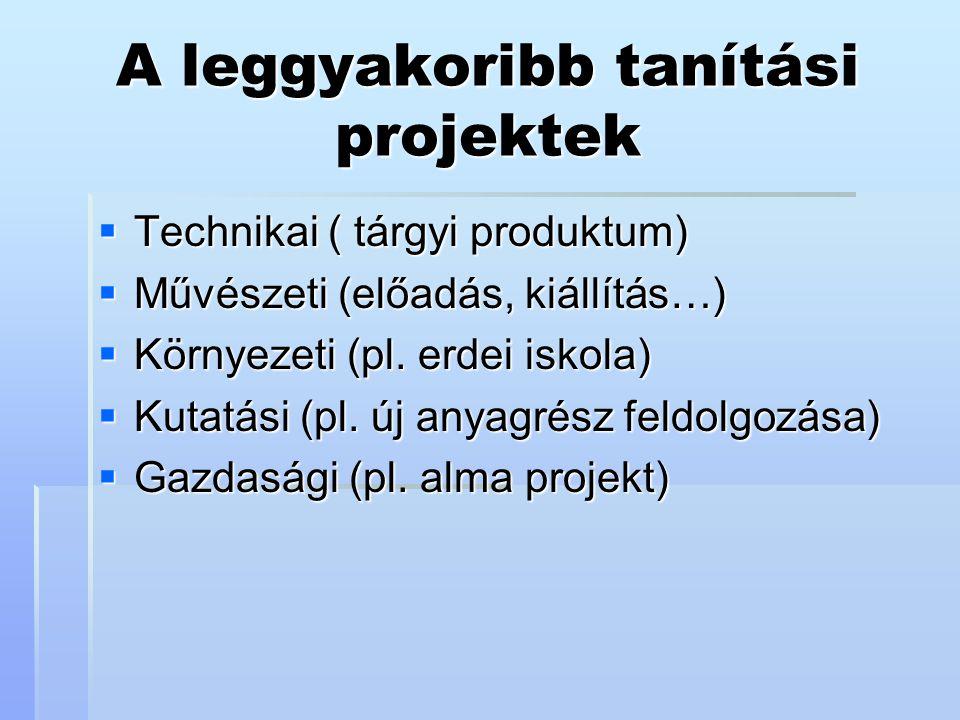 A leggyakoribb tanítási projektek  Technikai ( tárgyi produktum)  Művészeti (előadás, kiállítás…)  Környezeti (pl. erdei iskola)  Kutatási (pl. új