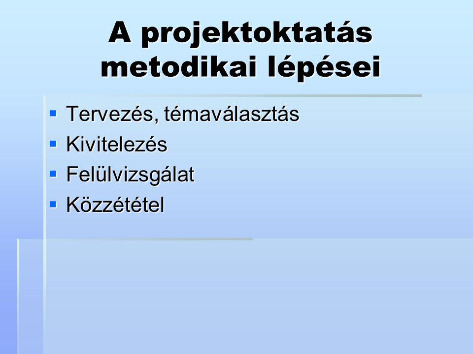 A projektoktatás metodikai lépései  Tervezés, témaválasztás  Kivitelezés  Felülvizsgálat  Közzététel