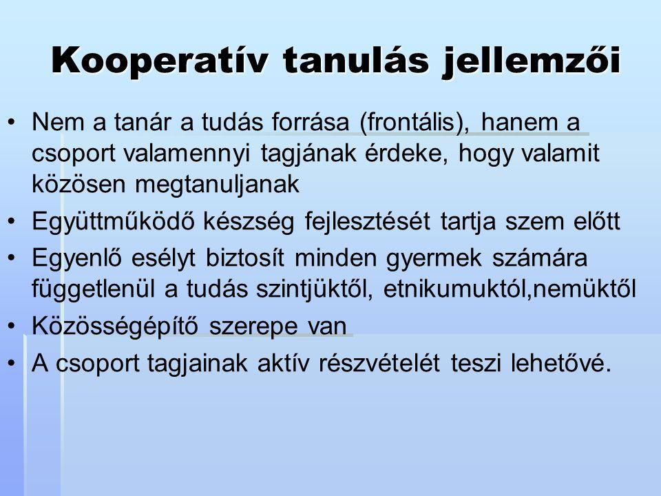 Kooperatív tanulás jellemzői Nem a tanár a tudás forrása (frontális), hanem a csoport valamennyi tagjának érdeke, hogy valamit közösen megtanuljanak E