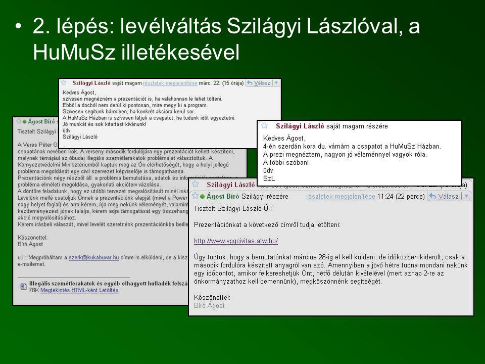 2. lépés: levélváltás Szilágyi Lászlóval, a HuMuSz illetékesével