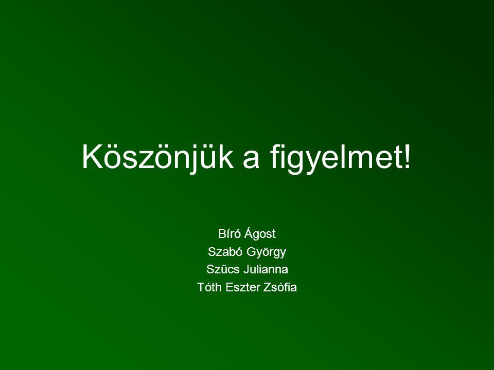 Köszönjük a figyelmet! Bíró Ágost Szabó György Szűcs Julianna Tóth Eszter Zsófia