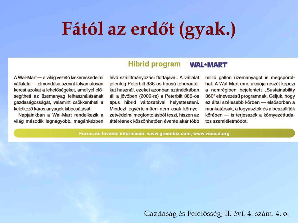 Fától az erdőt (gyak.) Gazdaság és Felelősség, II. évf. 4. szám. 4. o.