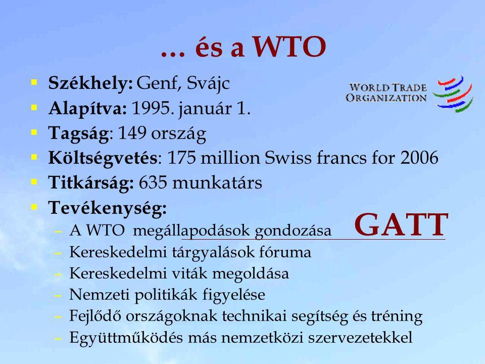 … és a WTO  Székhely: Genf, Svájc  Alapítva: 1995.