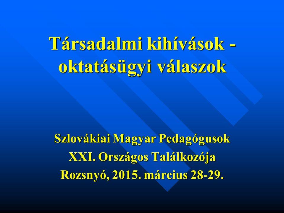 22 A közoktatásban tanulók száma 1989-től A közoktatásban tanulók száma 1989-től Tanév Tanulók a közoktatásban összesen Szlovák tannyelvű iskolákban Magyar tannyelvű iskolákban Egyéb tannyelvű iskolákban  (= 100 %)  %  %  % 1989/19901 253 0221 172 11593,5477 0036,153 9040,31 1994/19951 207 5861 129 45893,5375 8566,282 2720,19 1999/20001 114 5141 071 12093,7569 6456,101 7490,15 2004/20051 065 890998 46993,6865 7896,171 6320,15 2009/2010911 922855 58493,8254 5665,981 7720,20 2013/2014848 225794 65993,6851 6556,091 9110,23