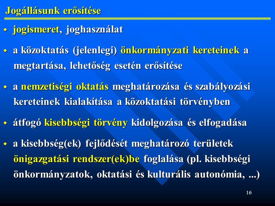 16 Jogállásunk erősítése Jogállásunk erősítése  jogismeret, joghasználat  a közoktatás (jelenlegi) önkormányzati kereteinek a megtartása, lehetőség esetén erősítése megtartása, lehetőség esetén erősítése  a nemzetiségi oktatás meghatározása és szabályozási kereteinek kialakítása a közoktatási törvényben kereteinek kialakítása a közoktatási törvényben  átfogó kisebbségi törvény kidolgozása és elfogadása  a kisebbség(ek) fejlődését meghatározó területek önigazgatási rendszer(ek)be foglalása (pl.