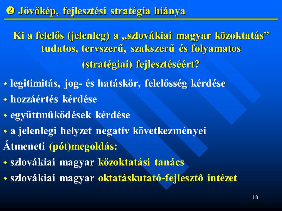 """18  Jövőkép, fejlesztési stratégia hiánya  Jövőkép, fejlesztési stratégia hiánya Ki a felelős (jelenleg) a """"szlovákiai magyar közoktatás tudatos, tervszerű, szakszerű és folyamatos (stratégiai) fejlesztéséért."""