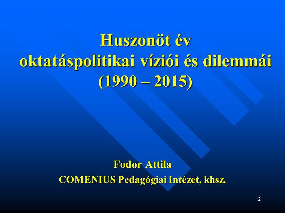 """33  A tartalmi-szakmai fejlesztés problémái  a """"szlovákiai magyar közoktatás -nak, mint (al)rendszernek az értelmezése – problémák (al)rendszernek az értelmezése – problémák  fejlesztéspolitika, fejlesztési stratégia hiánya (legitim felelős?) felelős?)  támogató rendszerek, háttérintézmények hiánya  pedagógusképzés uniformizálódása  pedagógus-továbbképzés - negatív fordulat  magyar kánon hiánya (mitől magyar a magyar iskola?)  roma tanulók nevelésének-oktatásának gondjai  fejlesztési források alacsony mértéke  együttműködés, tudásmegosztás hiánya"""