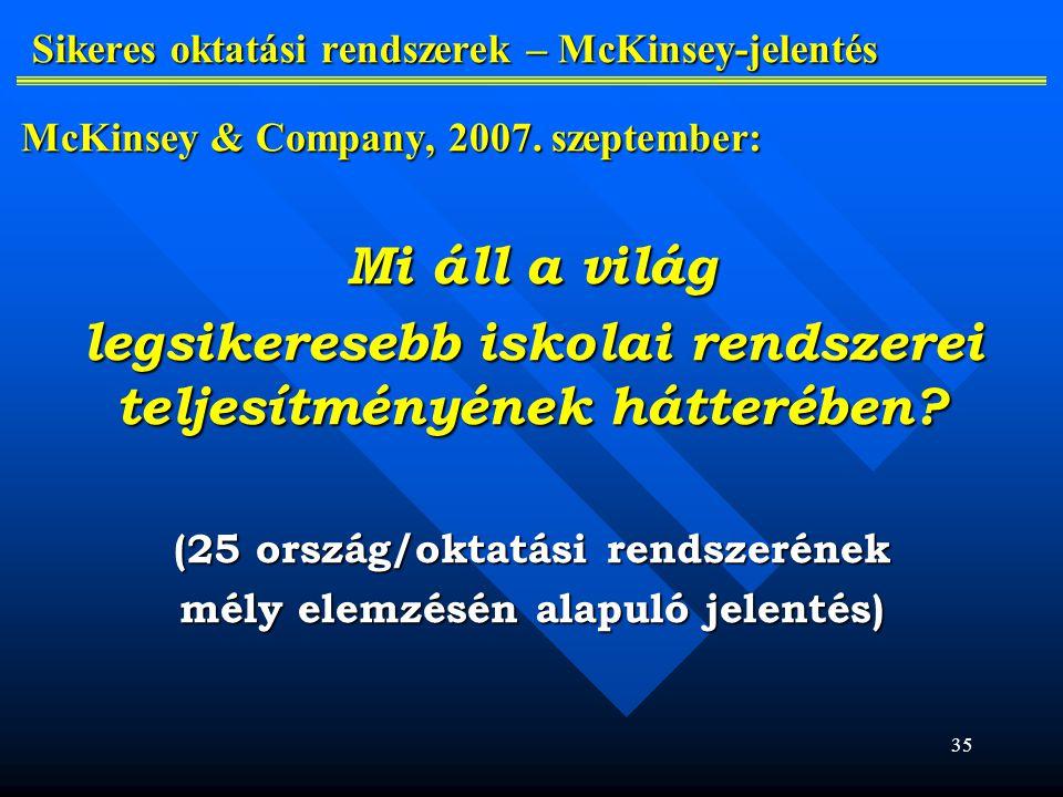 35 Sikeres oktatási rendszerek – McKinsey-jelentés McKinsey & Company, 2007.