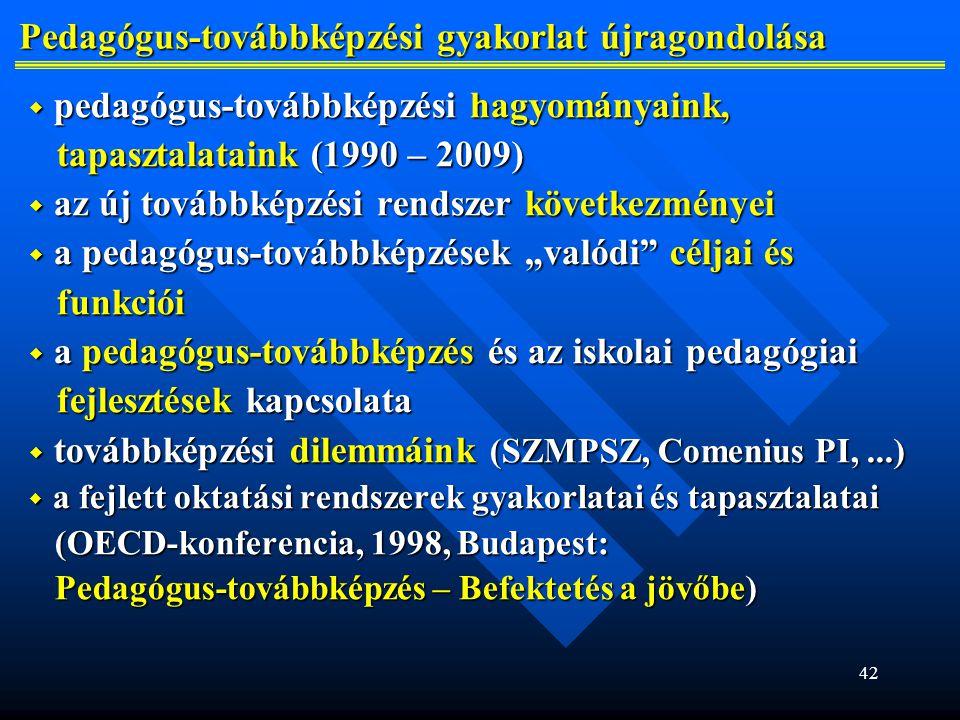 """42 Pedagógus-továbbképzési gyakorlat újragondolása Pedagógus-továbbképzési gyakorlat újragondolása  pedagógus-továbbképzési hagyományaink, tapasztalataink (1990 – 2009) tapasztalataink (1990 – 2009)  az új továbbképzési rendszer következményei  a pedagógus-továbbképzések """"valódi céljai és funkciói funkciói  a pedagógus-továbbképzés és az iskolai pedagógiai fejlesztések kapcsolata fejlesztések kapcsolata  továbbképzési dilemmáink (SZMPSZ, Comenius PI,...)  a fejlett oktatási rendszerek gyakorlatai és tapasztalatai (OECD-konferencia, 1998, Budapest: (OECD-konferencia, 1998, Budapest: Pedagógus-továbbképzés – Befektetés a jövőbe) Pedagógus-továbbképzés – Befektetés a jövőbe)"""