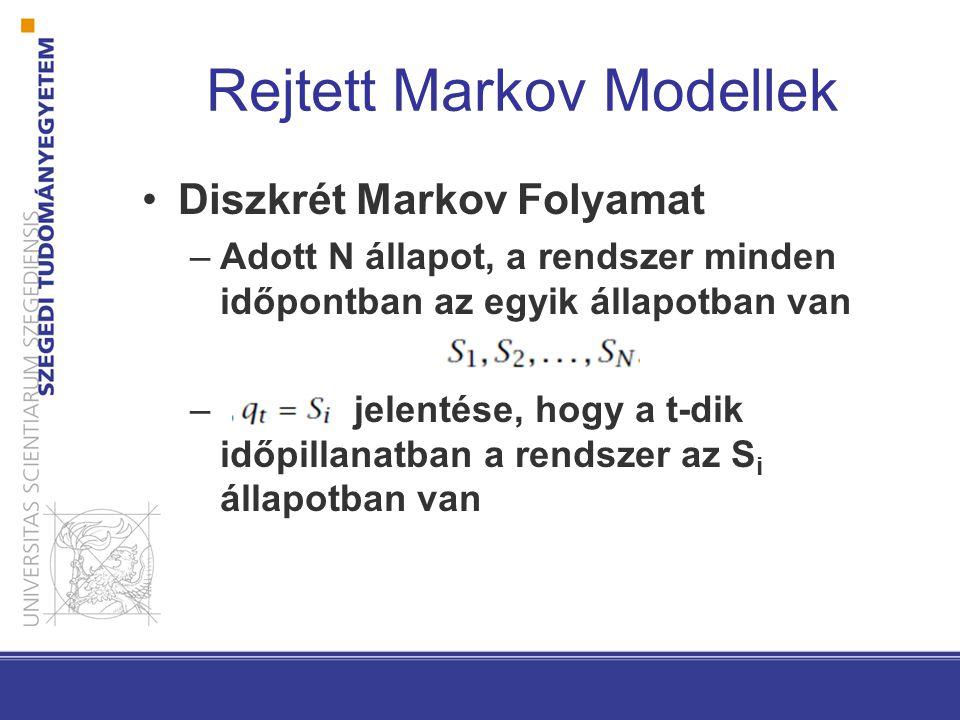Diszkrét Markov Folyamat –Adott N állapot, a rendszer minden időpontban az egyik állapotban van – jelentése, hogy a t-dik időpillanatban a rendszer az S i állapotban van
