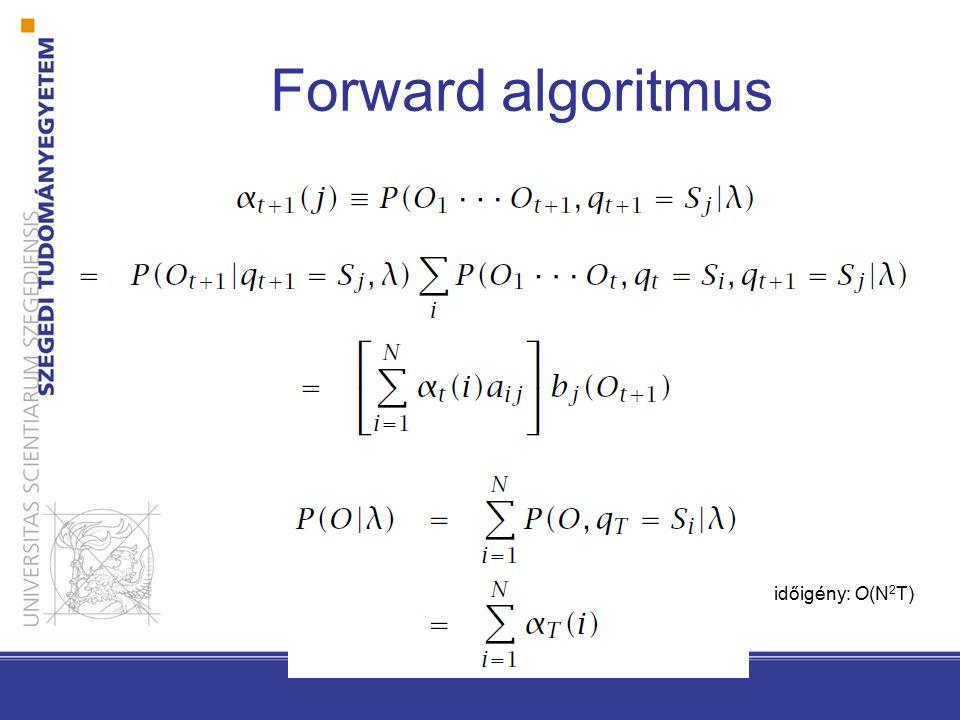 Forward algoritmus időigény: O(N 2 T)