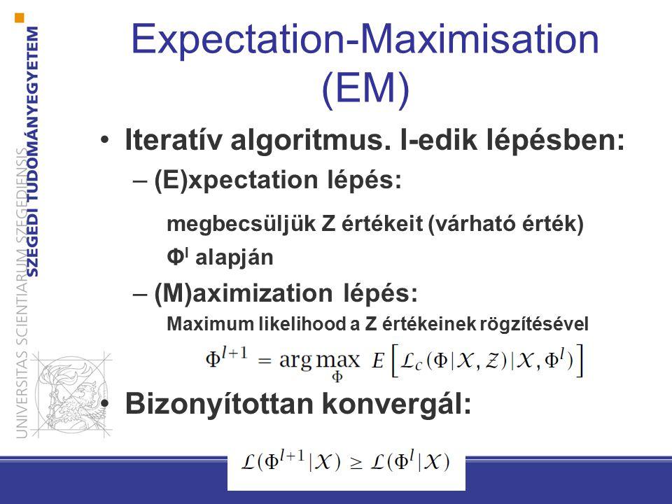Expectation-Maximisation (EM) Iteratív algoritmus.
