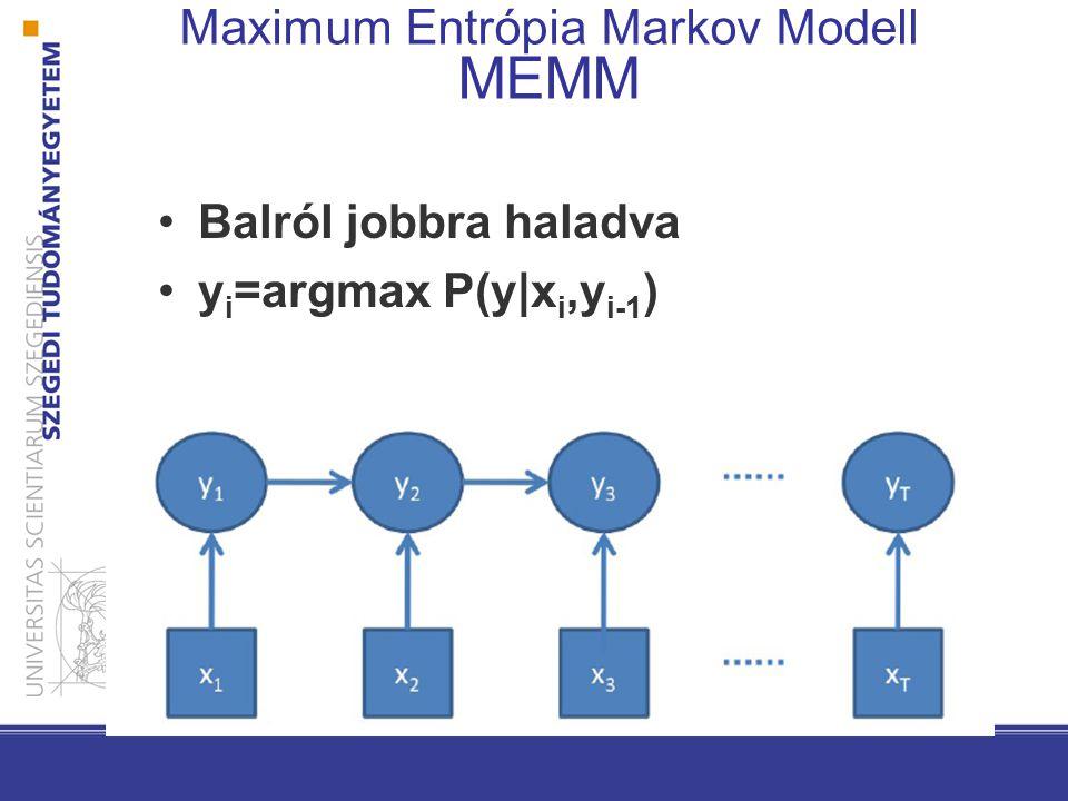 Balról jobbra haladva y i =argmax P(y|x i,y i-1 ) Maximum Entrópia Markov Modell MEMM