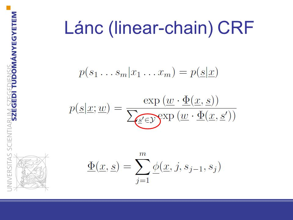 Lánc (linear-chain) CRF