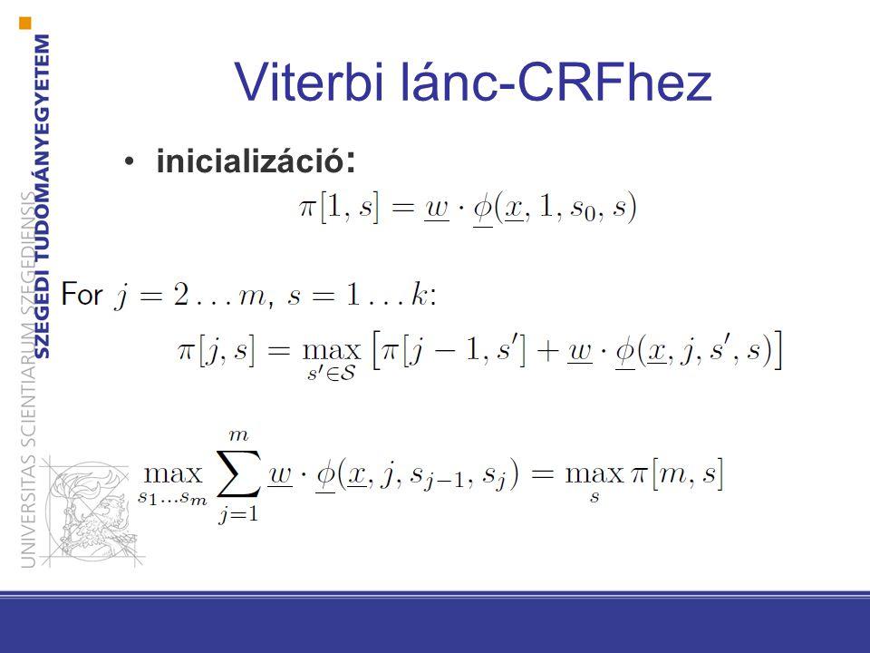 Viterbi lánc-CRFhez inicializáció :