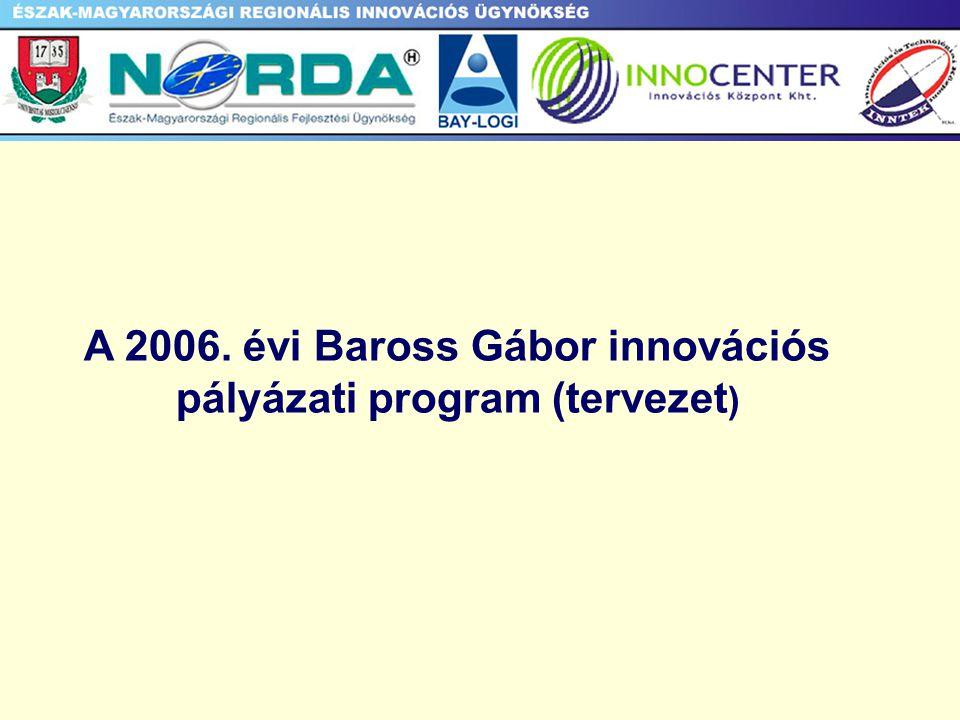 A 2006. évi Baross Gábor innovációs pályázati program (tervezet )