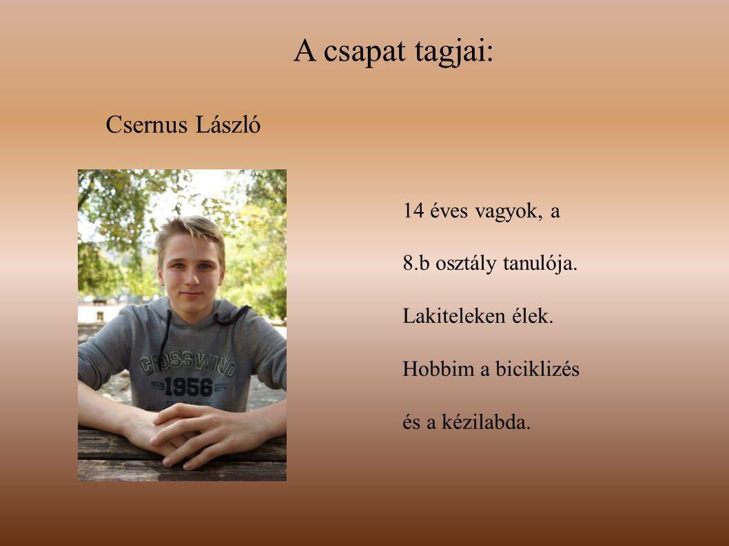 A csapat tagjai: Csernus László 14 éves vagyok, a 8.b osztály tanulója. Lakiteleken élek. Hobbim a biciklizés és a kézilabda.