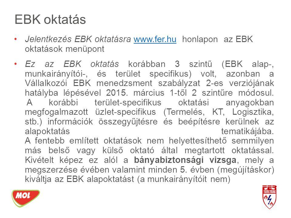 EBK oktatás Jelentkezés EBK oktatásra www.fer.hu honlapon az EBK oktatások menüpontwww.fer.hu Ez az EBK oktatás korábban 3 szintű (EBK alap-, munkairá