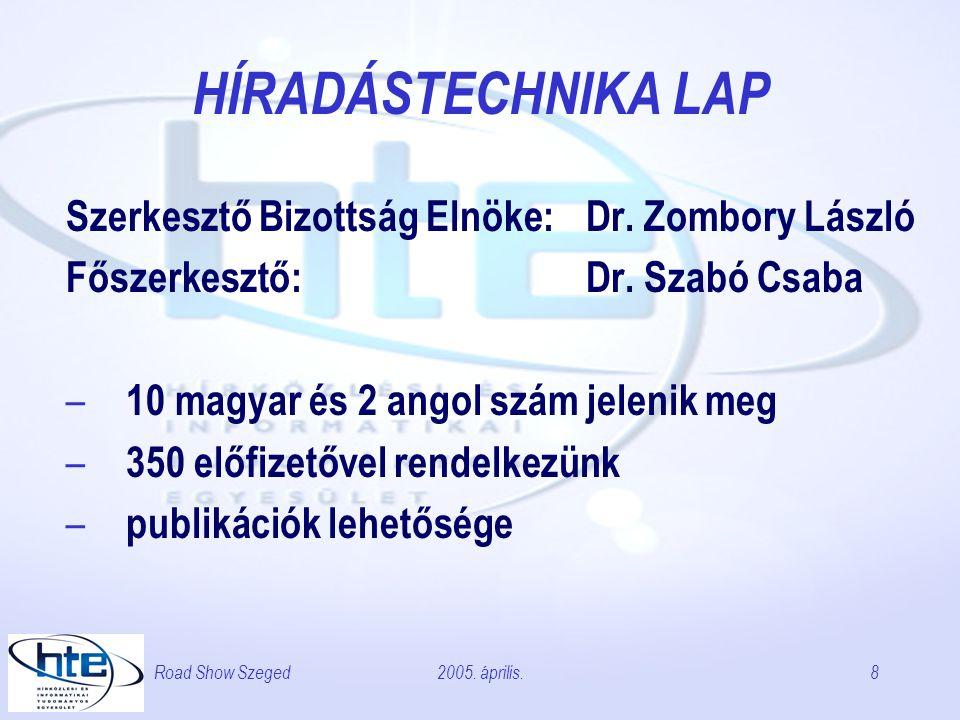2005. április.Road Show Szeged8 HÍRADÁSTECHNIKA LAP Szerkesztő Bizottság Elnöke: Dr.