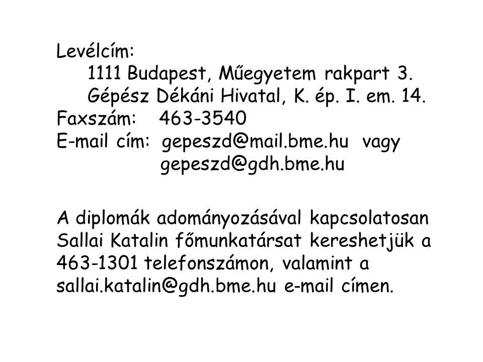 A diplomák adományozásával kapcsolatosan Sallai Katalin főmunkatársat kereshetjük a 463-1301 telefonszámon, valamint a sallai.katalin@gdh.bme.hu e - m