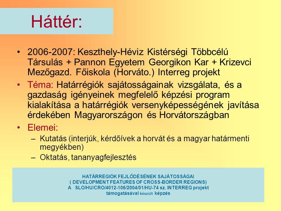 2 Háttér: 2006-2007: Keszthely-Héviz Kistérségi Többcélú Társulás + Pannon Egyetem Georgikon Kar + Krizevci Mezőgazd. Főiskola (Horváto.) Interreg pro