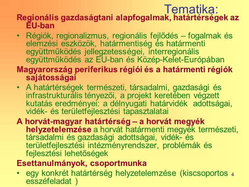 4 Tematika: Regionális gazdaságtani alapfogalmak, határtérségek az EU-ban Régiók, regionalizmus, regionális fejlődés – fogalmak és elemzési eszközök, határmentiség és határmenti együttműködés jellegzetességei, interregionális együttműködés az EU-ban és Közép-Kelet-Európában Magyarország periferikus régiói és a határmenti régiók sajátosságai A határtérségek természeti, társadalmi, gazdasági és infrastrukturális tényezői, a projekt keretében végzett kutatás eredményei: a délnyugati határvidék adottságai, vidék- és területfejlesztési tapasztalatai A horvát-magyar határtérség – a horvát megyék helyzetelemzése a horvát határmenti megyék természeti, társadalmi és gazdasági adottságai, vidék- és területfejlesztési intézményrendszer, problémák és fejlesztési lehetőségek Esettanulmányok, csoportmunka egy konkrét határtérség helyzetelemzése (kiscsoportos esszéfeladat )