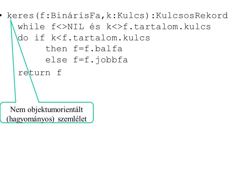 keres(f:BinárisFa,k:Kulcs):KulcsosRekord while f<>NIL és k<>f.tartalom.kulcs do if k<f.tartalom.kulcs then f=f.balfa else f=f.jobbfa return f Nem obje