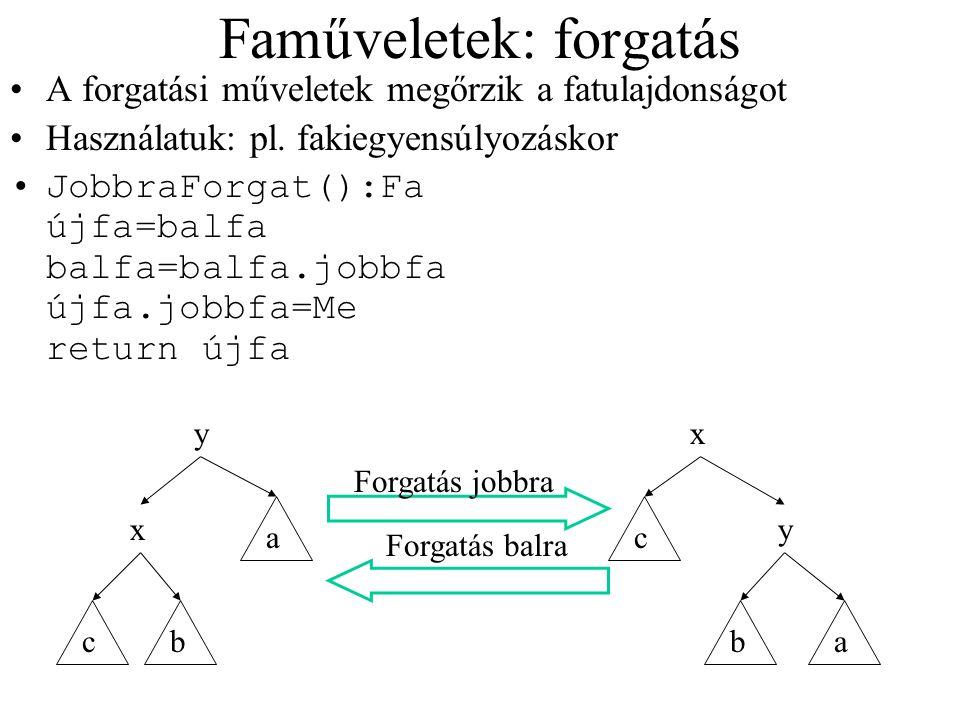 Faműveletek: forgatás A forgatási műveletek megőrzik a fatulajdonságot Használatuk: pl. fakiegyensúlyozáskor JobbraForgat():Fa újfa=balfa balfa=balfa.