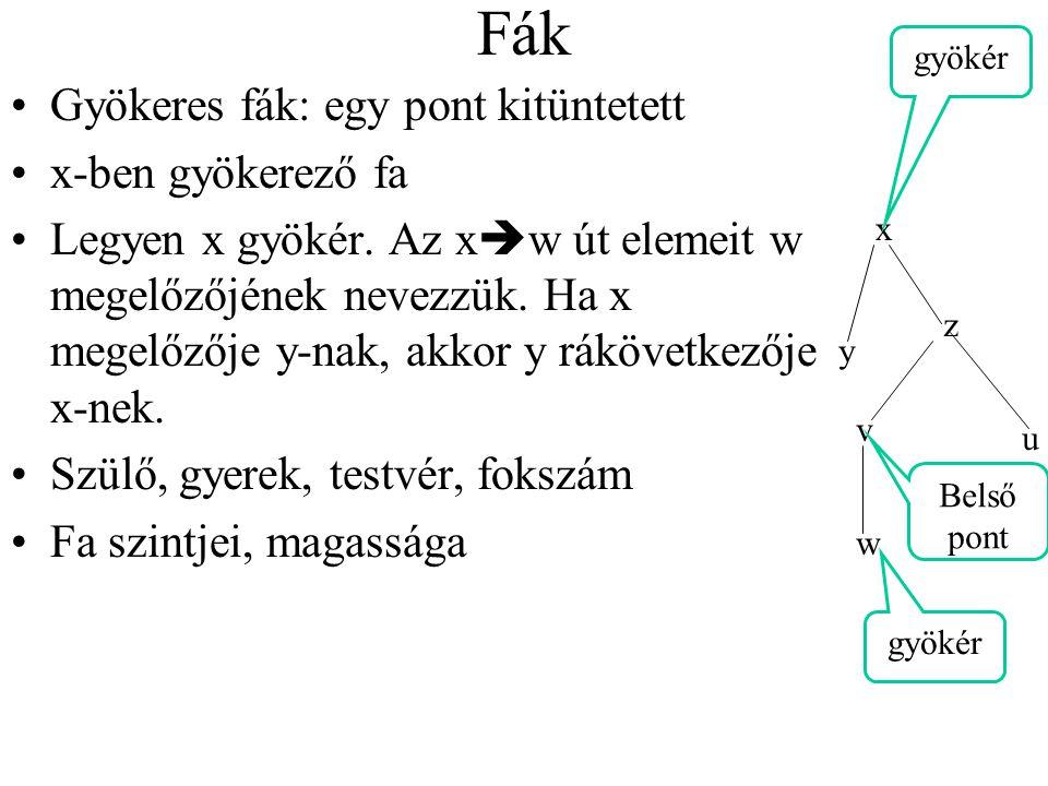 Fák Rendezett fa: ha minden csúcs gyerekei rendezettek (létezik, értelmezünk, használunk rendezési relációt, akár az elemek feletti rendezés, akár sorbaállítás) Kétágú (bináris) fák, amelyek - vagy nem tartalmaznak csúcsot - vagy a csúcsai 3 diszjunkt halmazba sorolhatók: a gyökér, a bal(rész)fa és a jobb(rész)fa, mindketten bináris fák A balfa gyökere: bal gyerek, jobbfáé: jobb gyerek Ha valamelyik részfa üres: hiányzó gyerek NEM: rendezett fa, melyben a fokszám legfeljebb 2 (azért, mert a mindkét részfa lehet hiányzó)