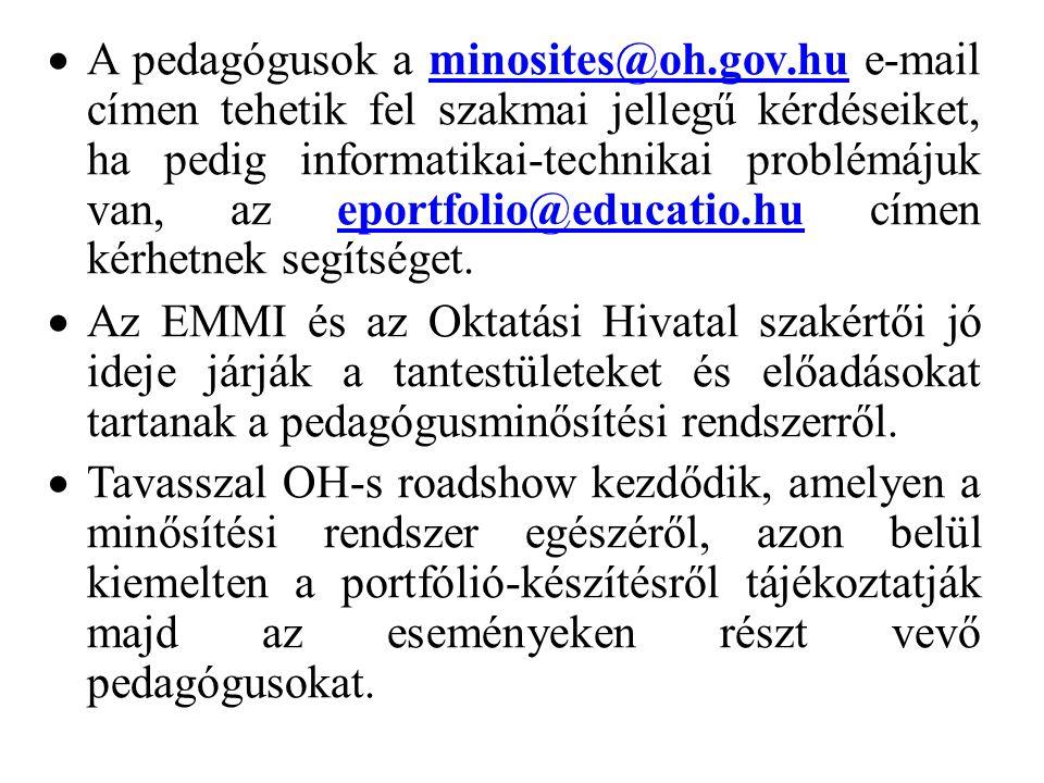  A pedagógusok a minosites@oh.gov.hu e-mail címen tehetik fel szakmai jellegű kérdéseiket, ha pedig informatikai-technikai problémájuk van, az eportf