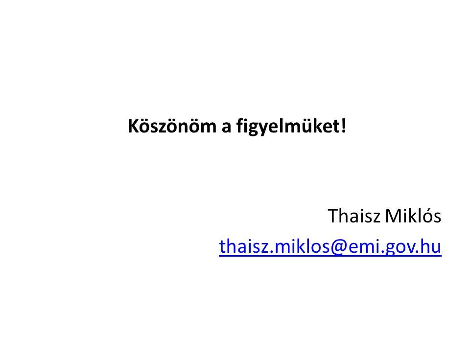 Köszönöm a figyelmüket! Thaisz Miklós thaisz.miklos@emi.gov.hu