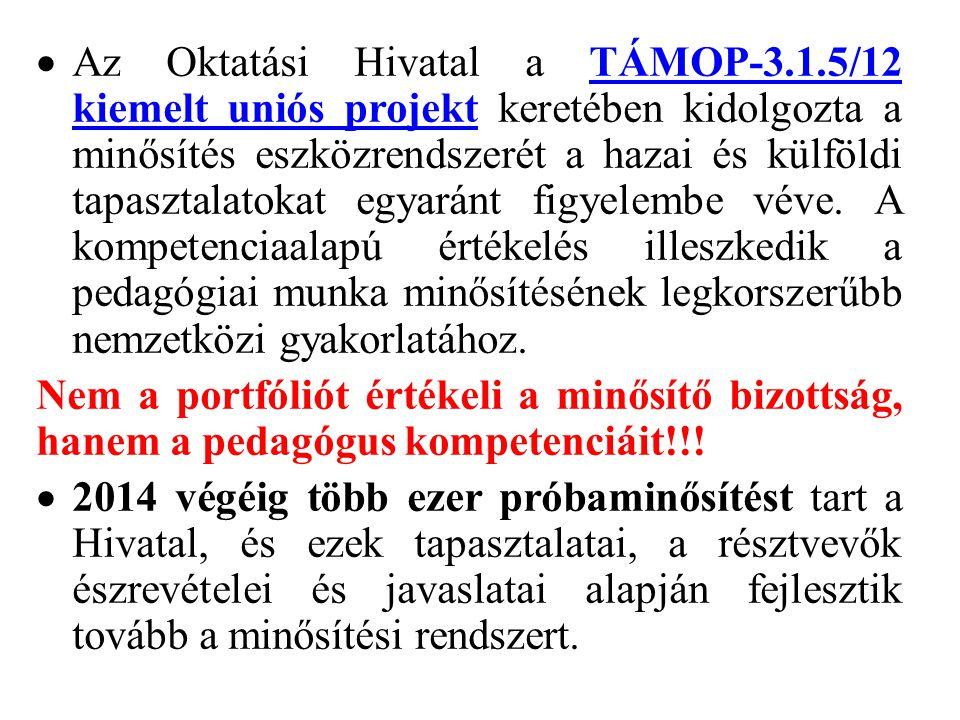  Az Oktatási Hivatal a TÁMOP-3.1.5/12 kiemelt uniós projekt keretében kidolgozta a minősítés eszközrendszerét a hazai és külföldi tapasztalatokat egy