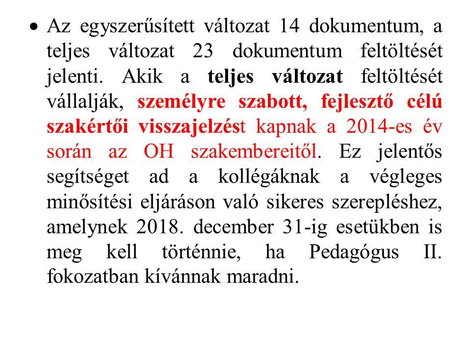  Az egyszerűsített változat 14 dokumentum, a teljes változat 23 dokumentum feltöltését jelenti. Akik a teljes változat feltöltését vállalják, személy