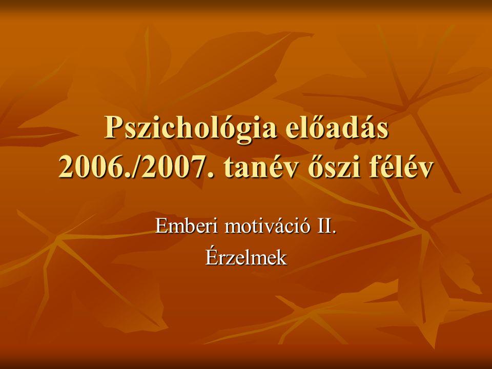 Pszichológia előadás 2006./2007. tanév őszi félév Emberi motiváció II. Érzelmek
