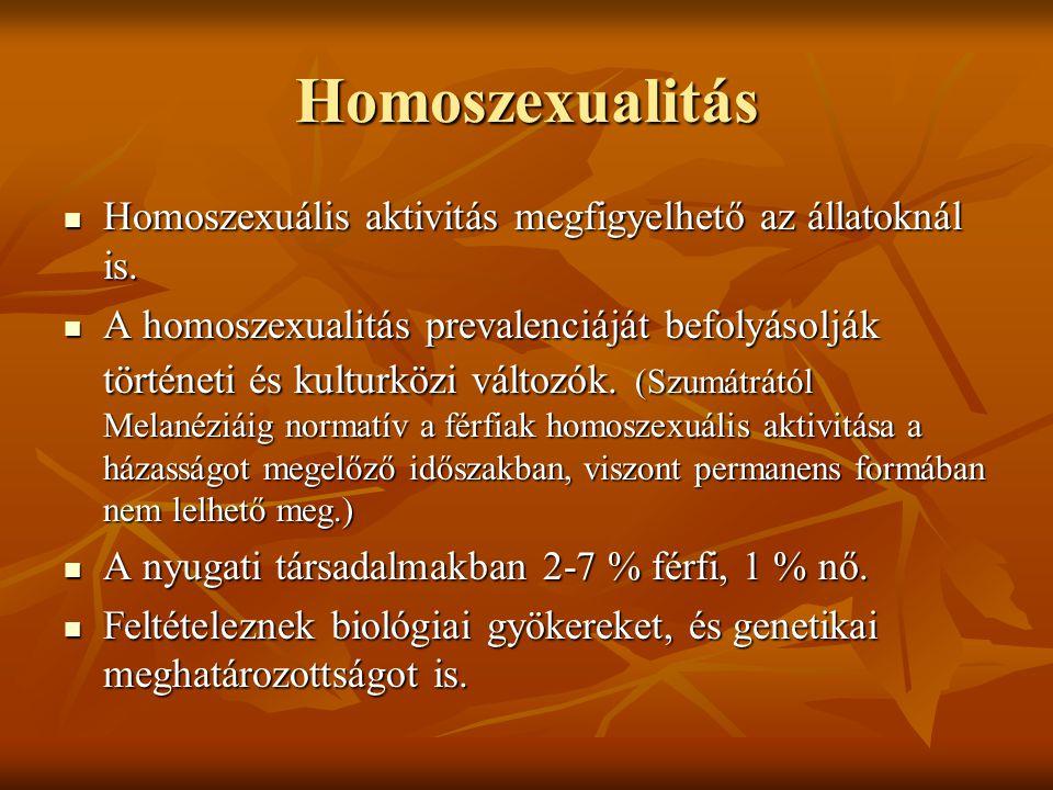 Homoszexualitás Homoszexuális aktivitás megfigyelhető az állatoknál is. Homoszexuális aktivitás megfigyelhető az állatoknál is. A homoszexualitás prev
