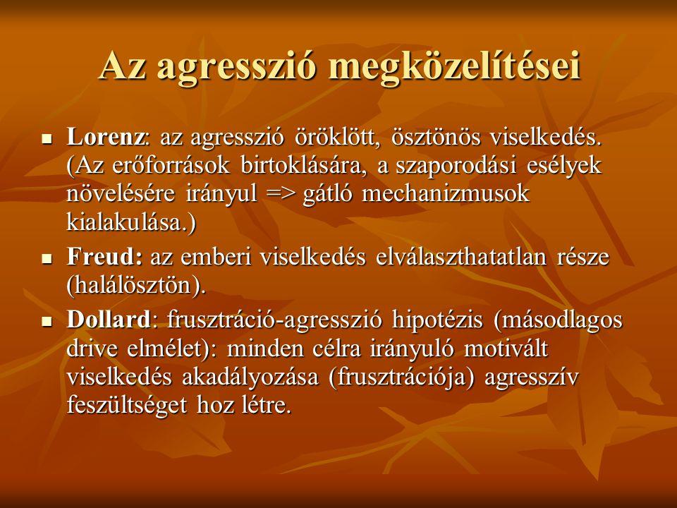 Az agresszió megközelítései Lorenz: az agresszió öröklött, ösztönös viselkedés. (Az erőforrások birtoklására, a szaporodási esélyek növelésére irányul