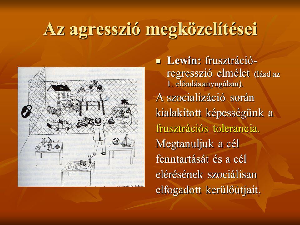Az agresszió megközelítései Lewin: frusztráció- regresszió elmélet (lásd az 1. előadás anyagában). Lewin: frusztráció- regresszió elmélet (lásd az 1.