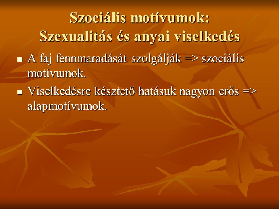 Szociális motívumok: Szexualitás és anyai viselkedés A faj fennmaradását szolgálják => szociális motívumok. A faj fennmaradását szolgálják => szociáli