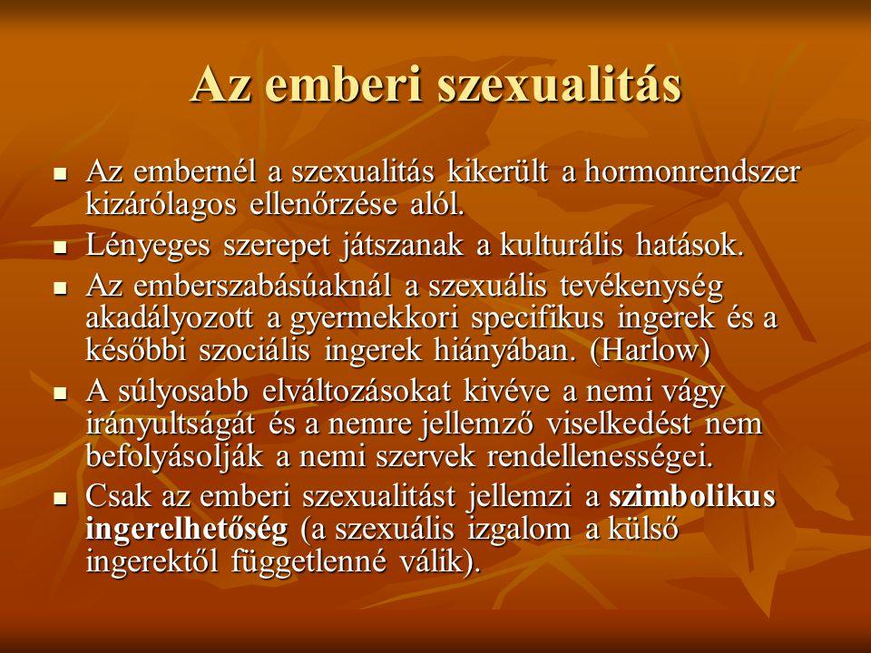 Az emberi szexualitás Az embernél a szexualitás kikerült a hormonrendszer kizárólagos ellenőrzése alól. Az embernél a szexualitás kikerült a hormonren