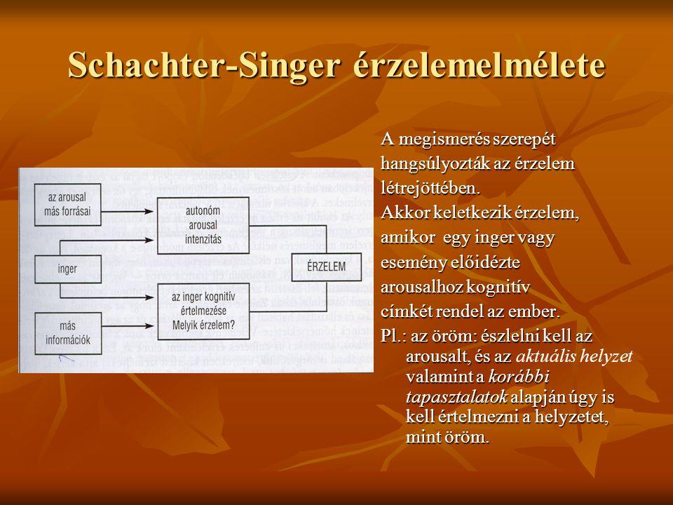 Schachter-Singer érzelemelmélete A megismerés szerepét hangsúlyozták az érzelem létrejöttében. Akkor keletkezik érzelem, amikor egy inger vagy esemény