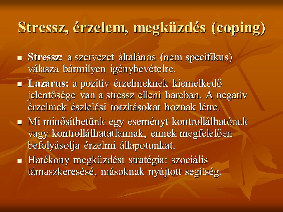 Stressz, érzelem, megküzdés (coping) Stressz: a szervezet általános (nem specifikus) válasza bármilyen igénybevételre. Stressz: a szervezet általános