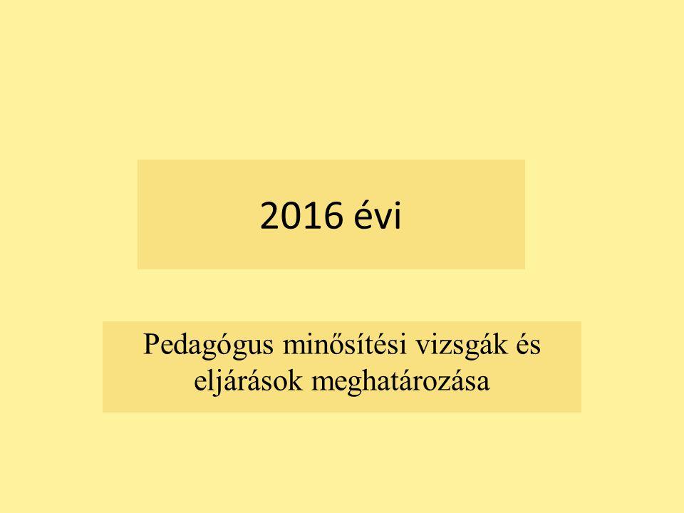 2016 évi Pedagógus minősítési vizsgák és eljárások meghatározása