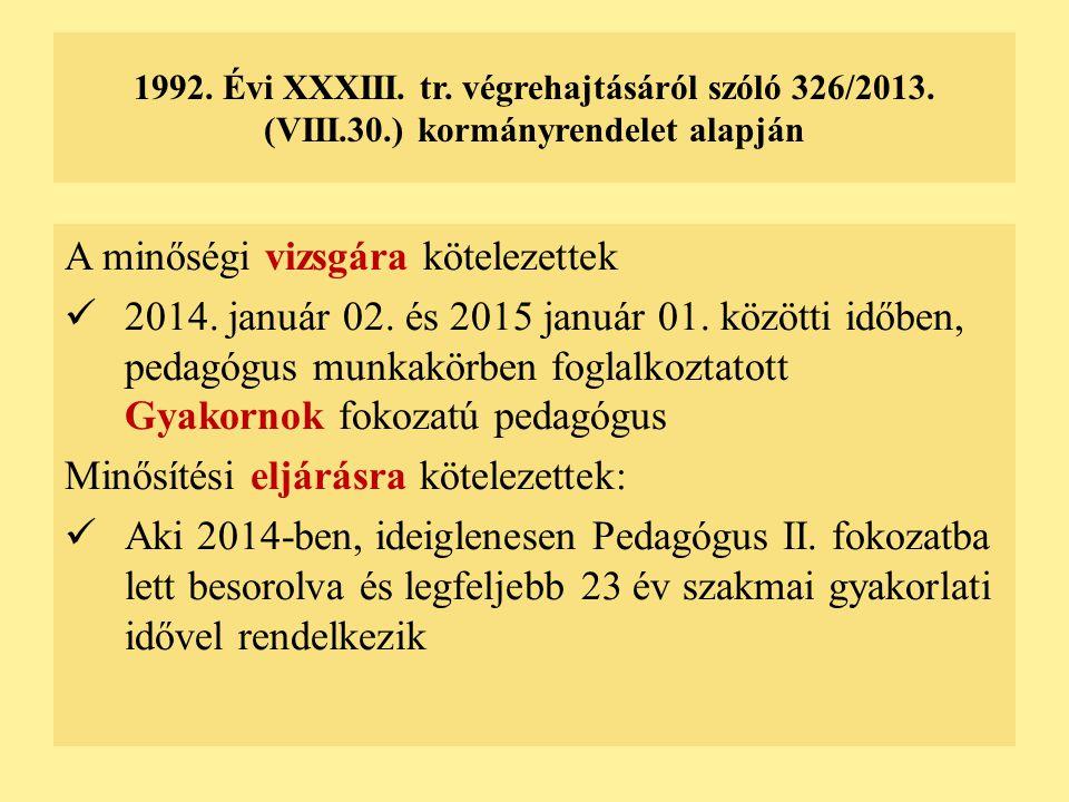 1992. Évi XXXIII. tr. végrehajtásáról szóló 326/2013. (VIII.30.) kormányrendelet alapján A minőségi vizsgára kötelezettek 2014. január 02. és 2015 jan