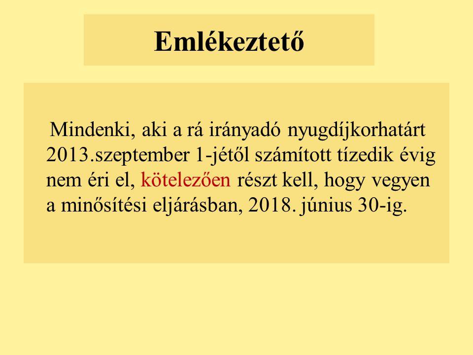 Emlékeztető Mindenki, aki a rá irányadó nyugdíjkorhatárt 2013.szeptember 1-jétől számított tízedik évig nem éri el, kötelezően részt kell, hogy vegyen